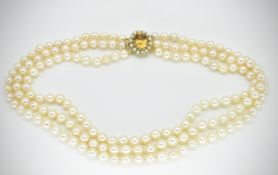 9ct Gold Citrine & Cultured Pearl Necklace