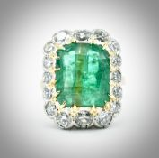 French 18ct Gold Emerald & Diamond Ring
