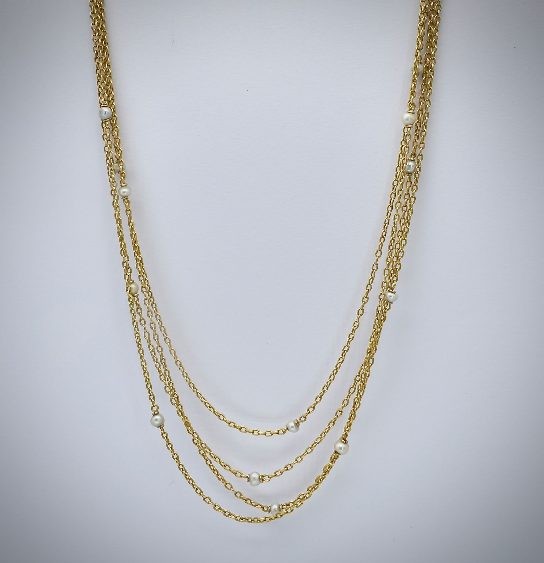 French 18ct Gold & Pearl Four Strand Necklace