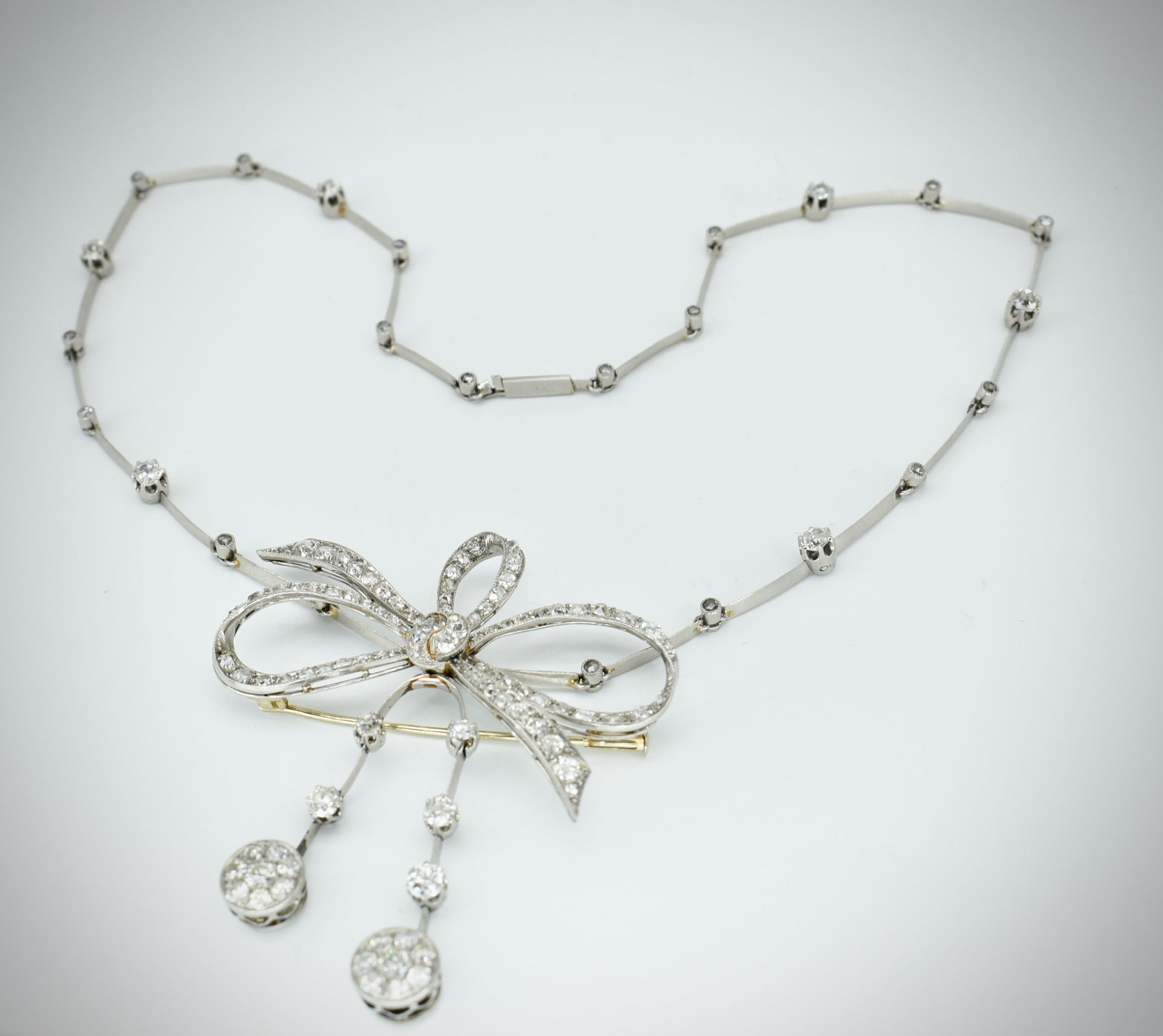 French 18ct Gold Platinum & Diamond Collar Necklace - Image 6 of 9