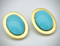 Pair of 18ct Gold & Turquoise Ear Clips