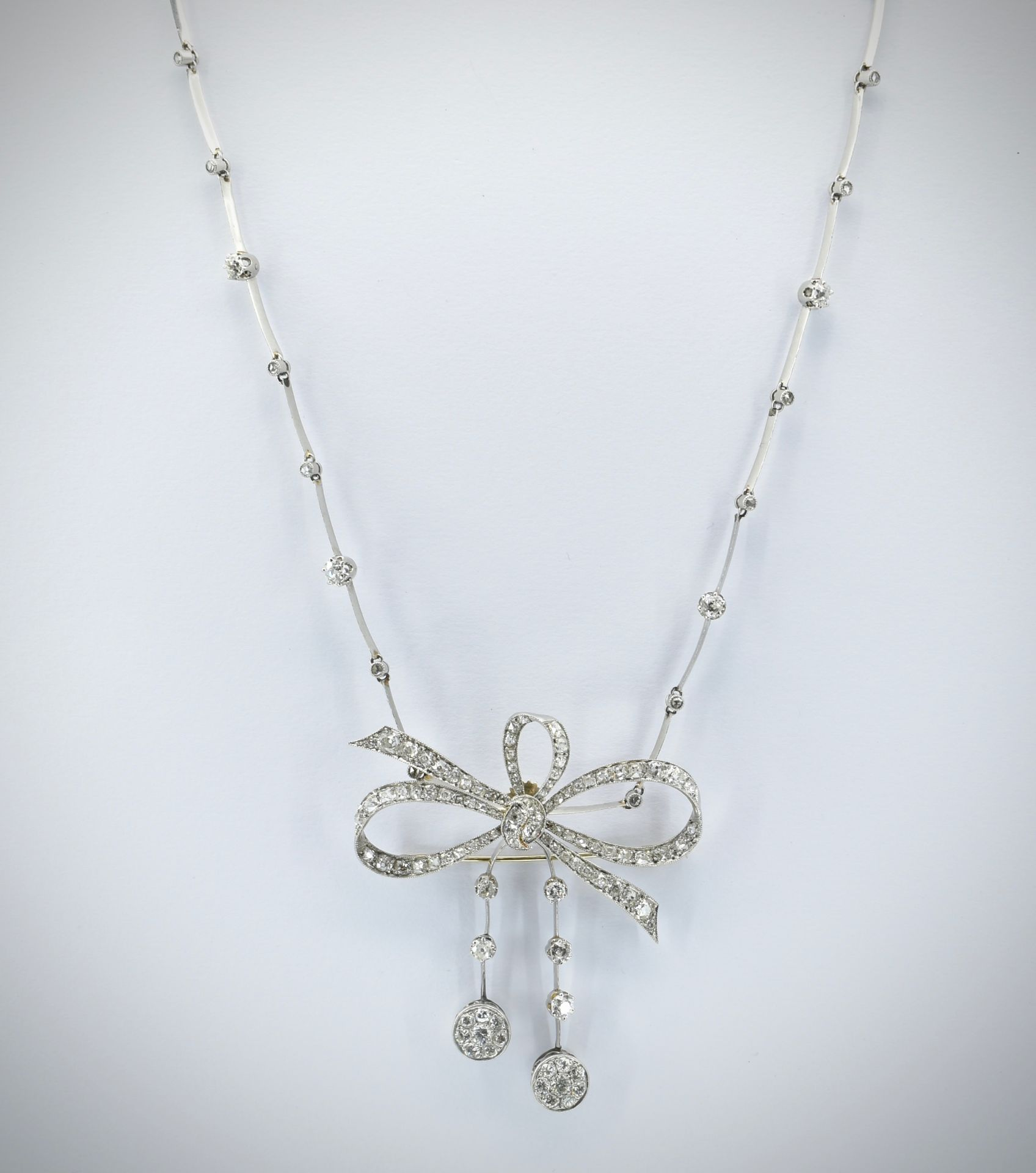 French 18ct Gold Platinum & Diamond Collar Necklace - Image 3 of 9