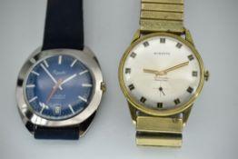 Mid Century Blue Dial Everite & Everite 17 Jewels Incabloc Wristwatches