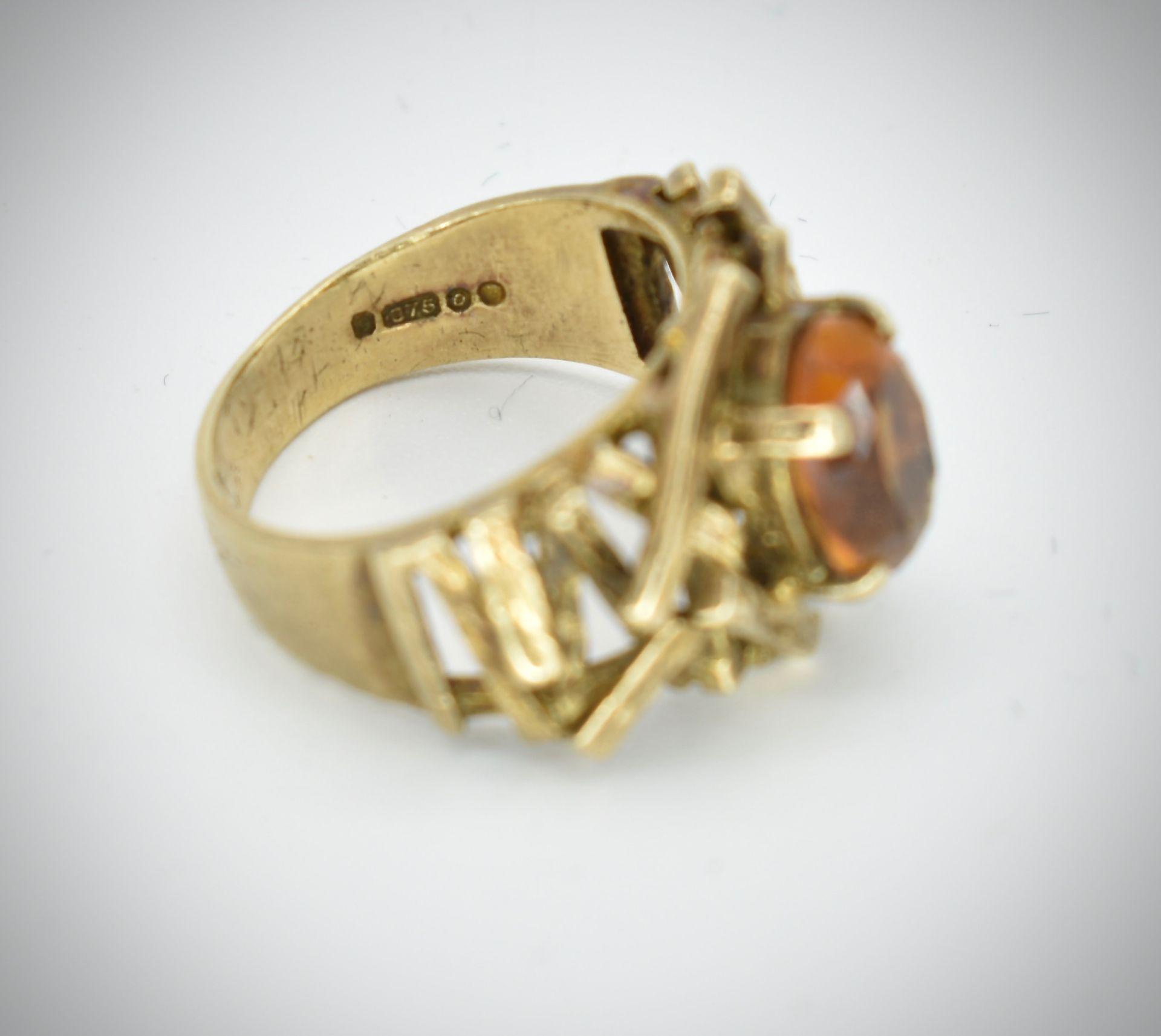 9ct Gold & Citrine Hallmarked 1960's Designer Ring - - Image 3 of 6