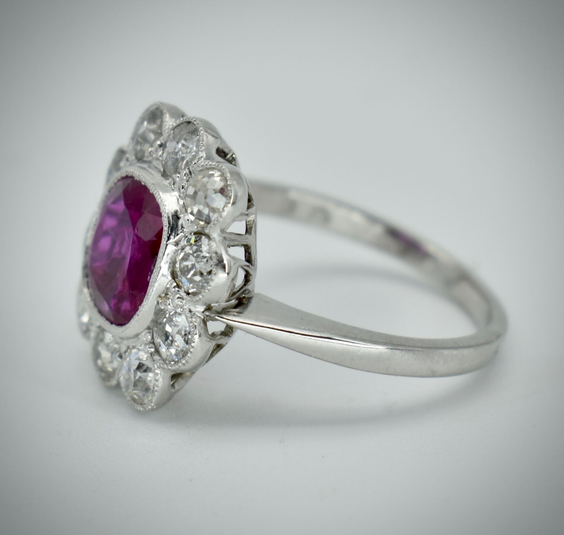 950 Platinum Burma Ruby & Diamond Cluster Ring - Image 5 of 5