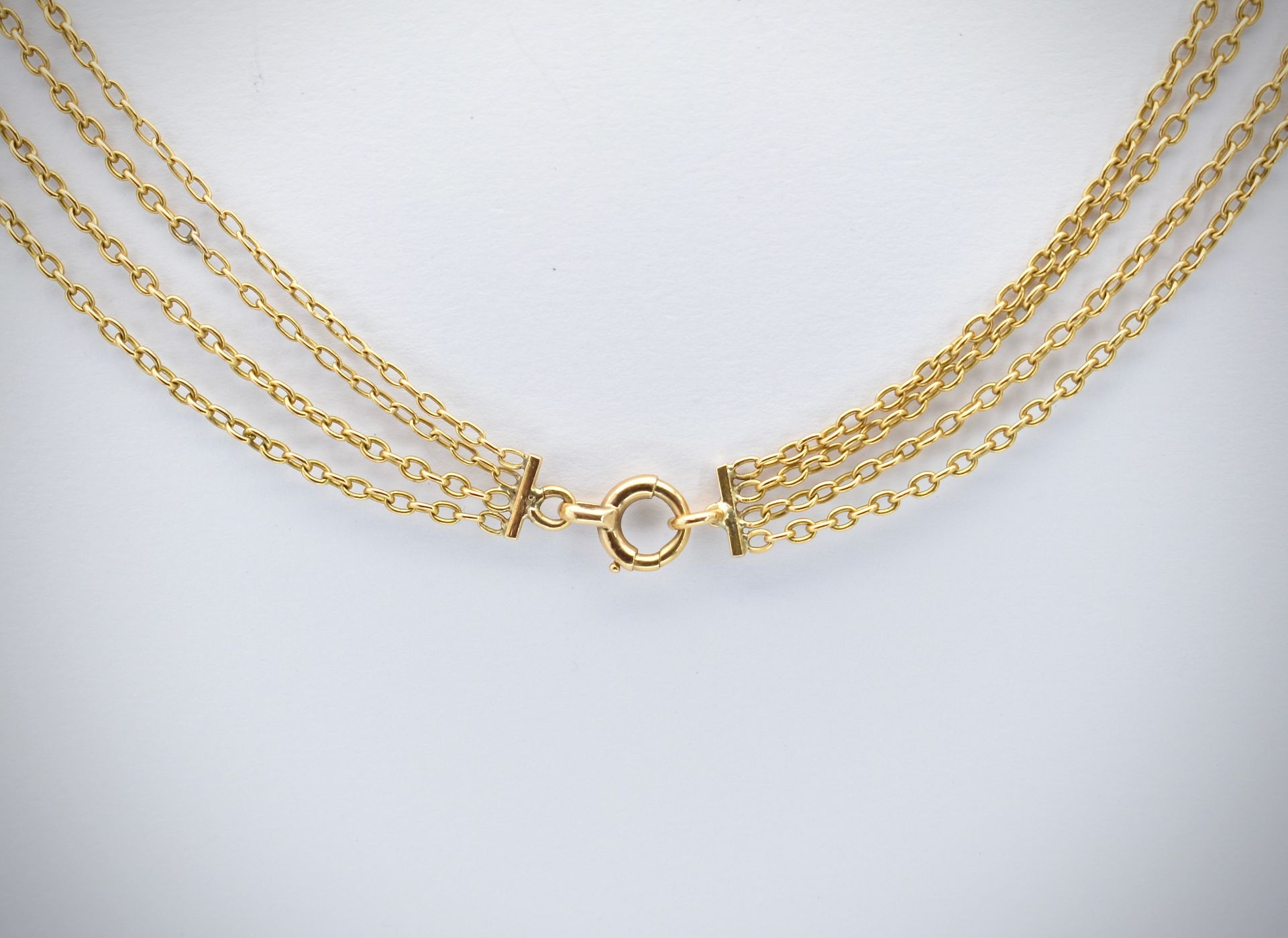 French 18ct Gold & Pearl Four Strand Necklace - Image 2 of 4