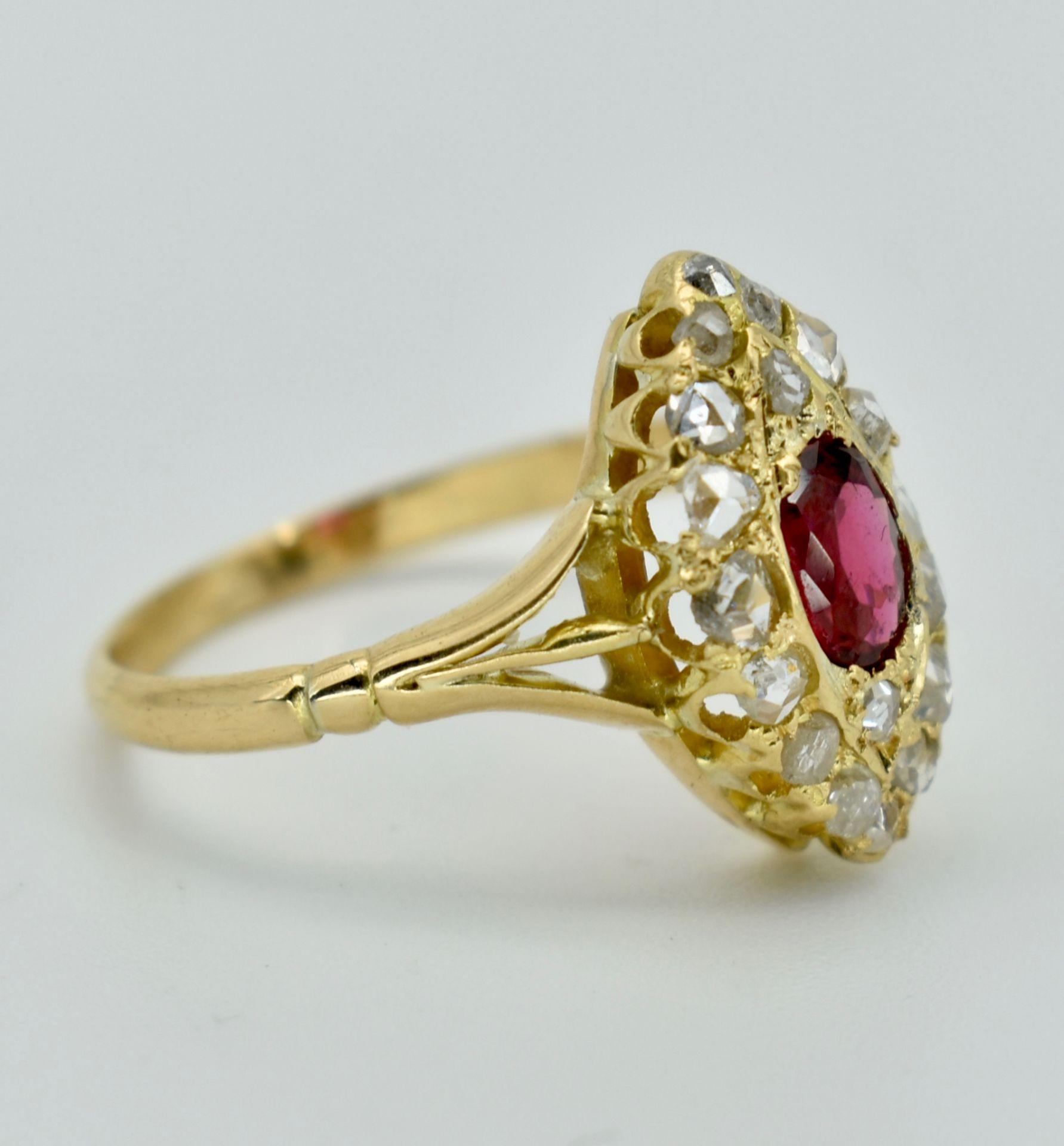 Gold Ruby & Diamond Navette Ring - Image 2 of 3