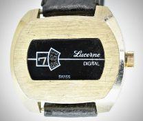 Retro 1970's Lucerne Digital Swiss Jump Hour Gents Wristwatch