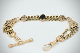 Victorian 19th century fancy linked Albertina Chain and T-Bar