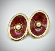 Pair of 18ct Gold Enamel & Pearl Cufflinks