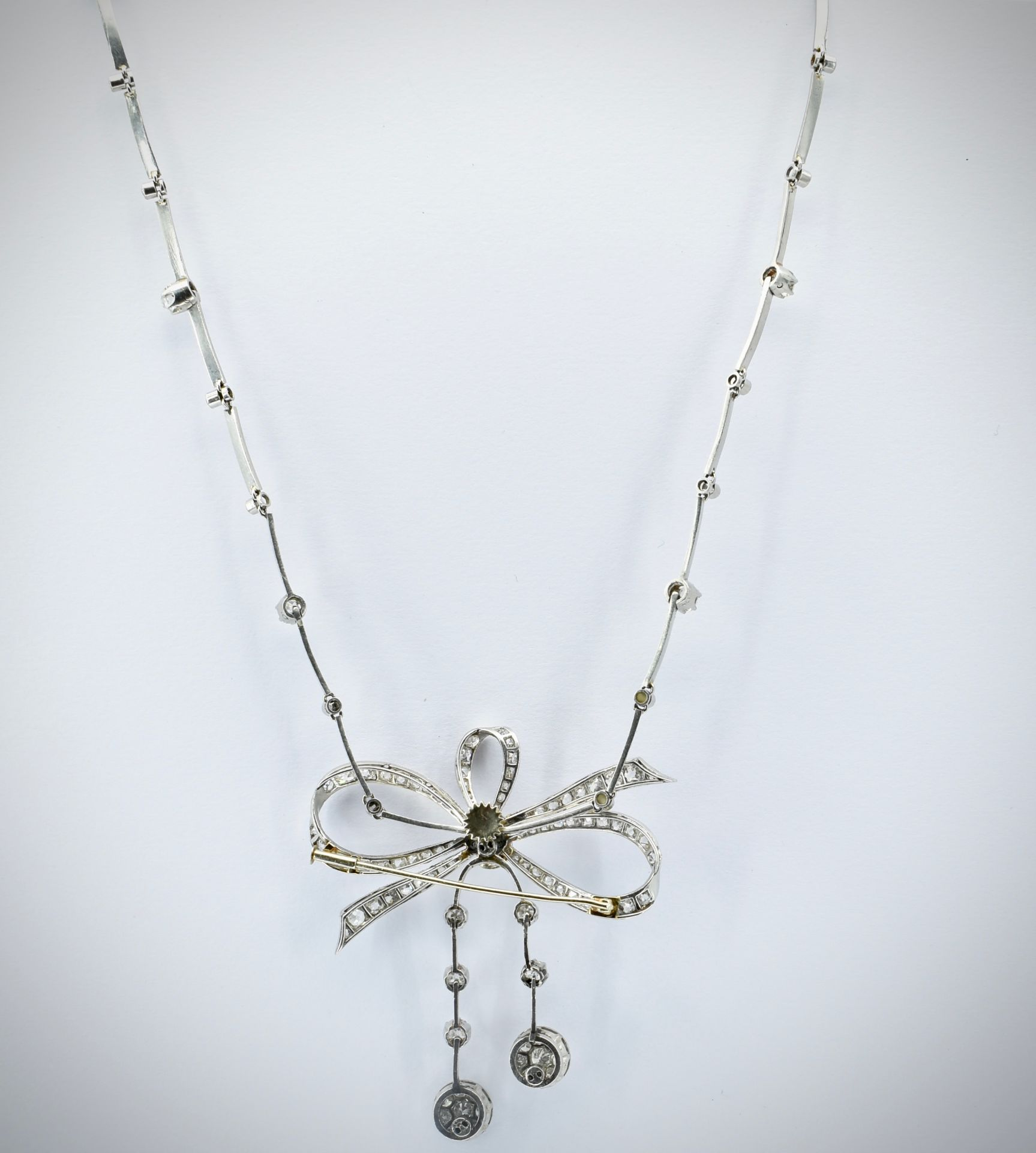 French 18ct Gold Platinum & Diamond Collar Necklace - Image 5 of 9