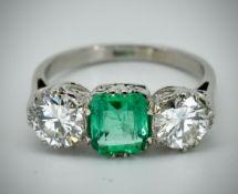 Platinum Colombian Emerald & Diamond Ring