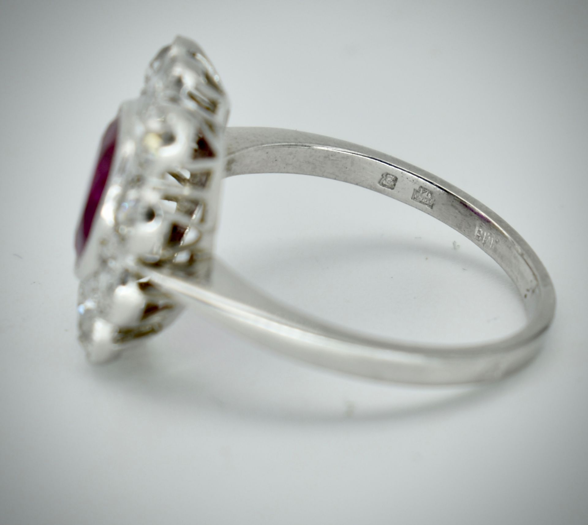 950 Platinum Burma Ruby & Diamond Cluster Ring - Image 4 of 5