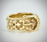 A 9ct Gold Heavy Buckle Ring Of Oversized Form