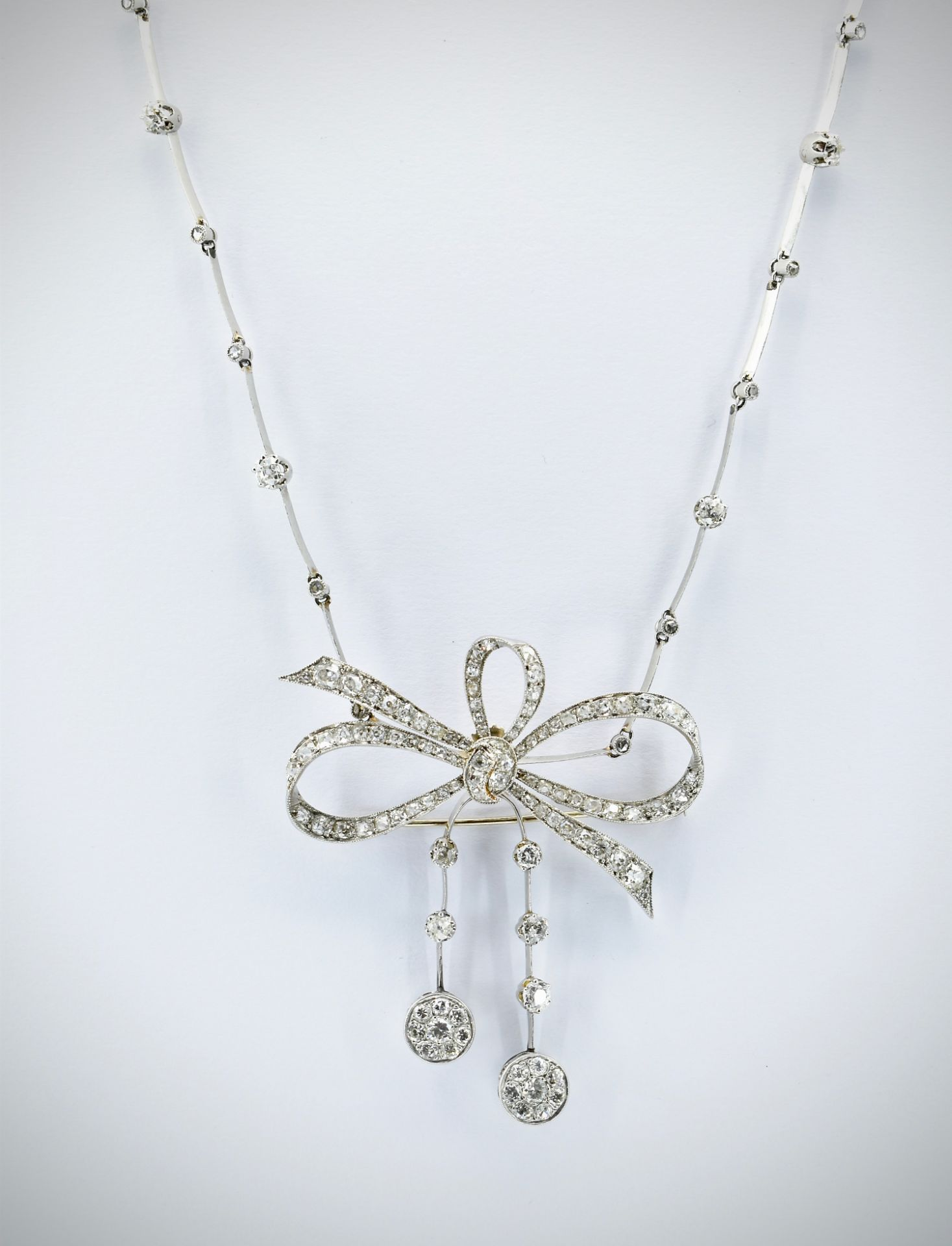 French 18ct Gold Platinum & Diamond Collar Necklace - Image 2 of 9