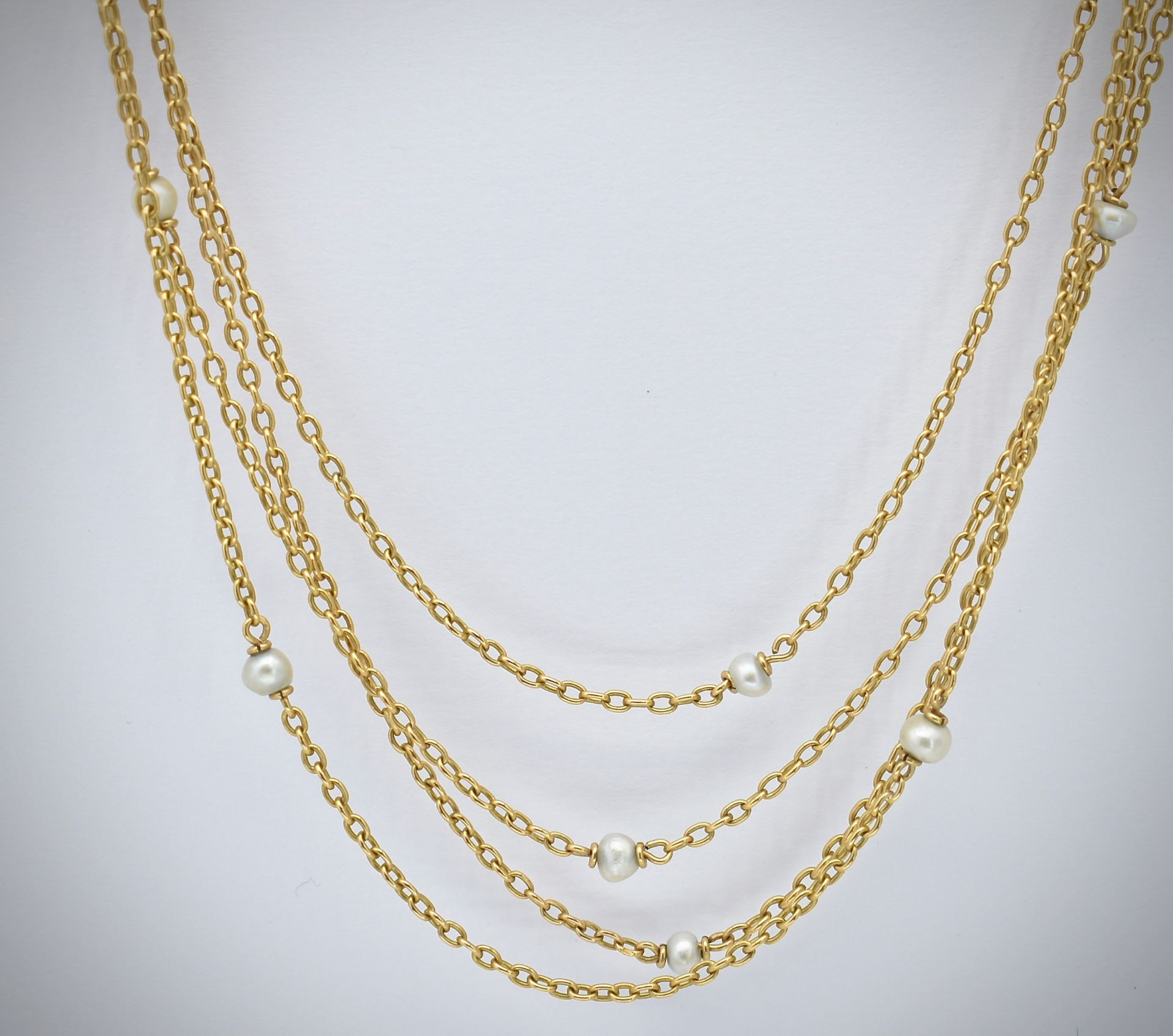 French 18ct Gold & Pearl Four Strand Necklace - Image 3 of 4