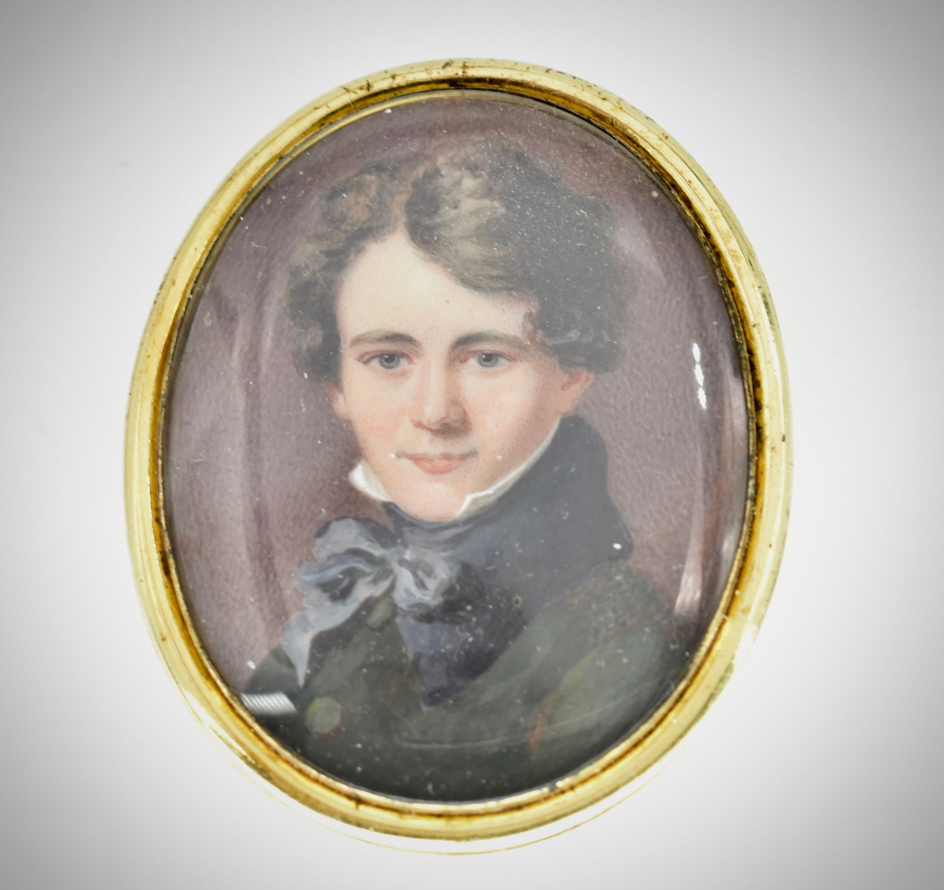 GEORGIAN PORTRAIT MINIATURE MOURNING BROOCH