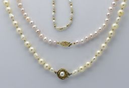 Two Cultured Pearl Necklaces & a Bracelet