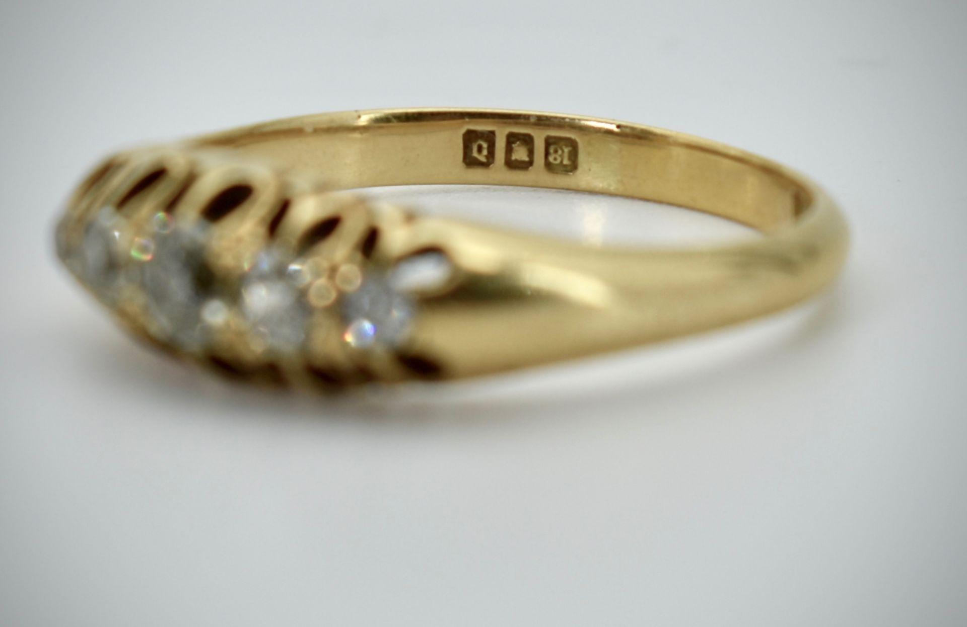 18ct Gold & Diamond Five Stone Hallmarked Ring - Image 2 of 3