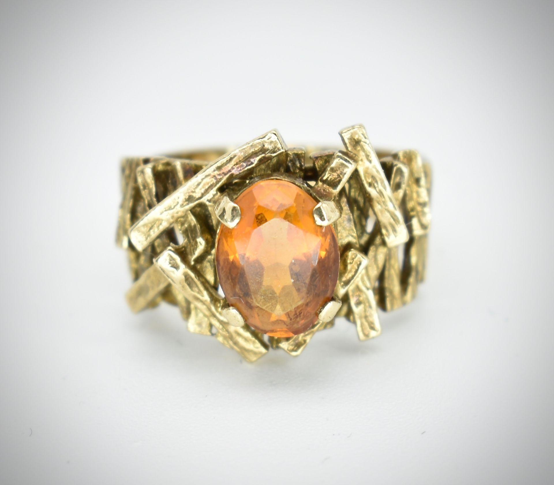 9ct Gold & Citrine Hallmarked 1960's Designer Ring -