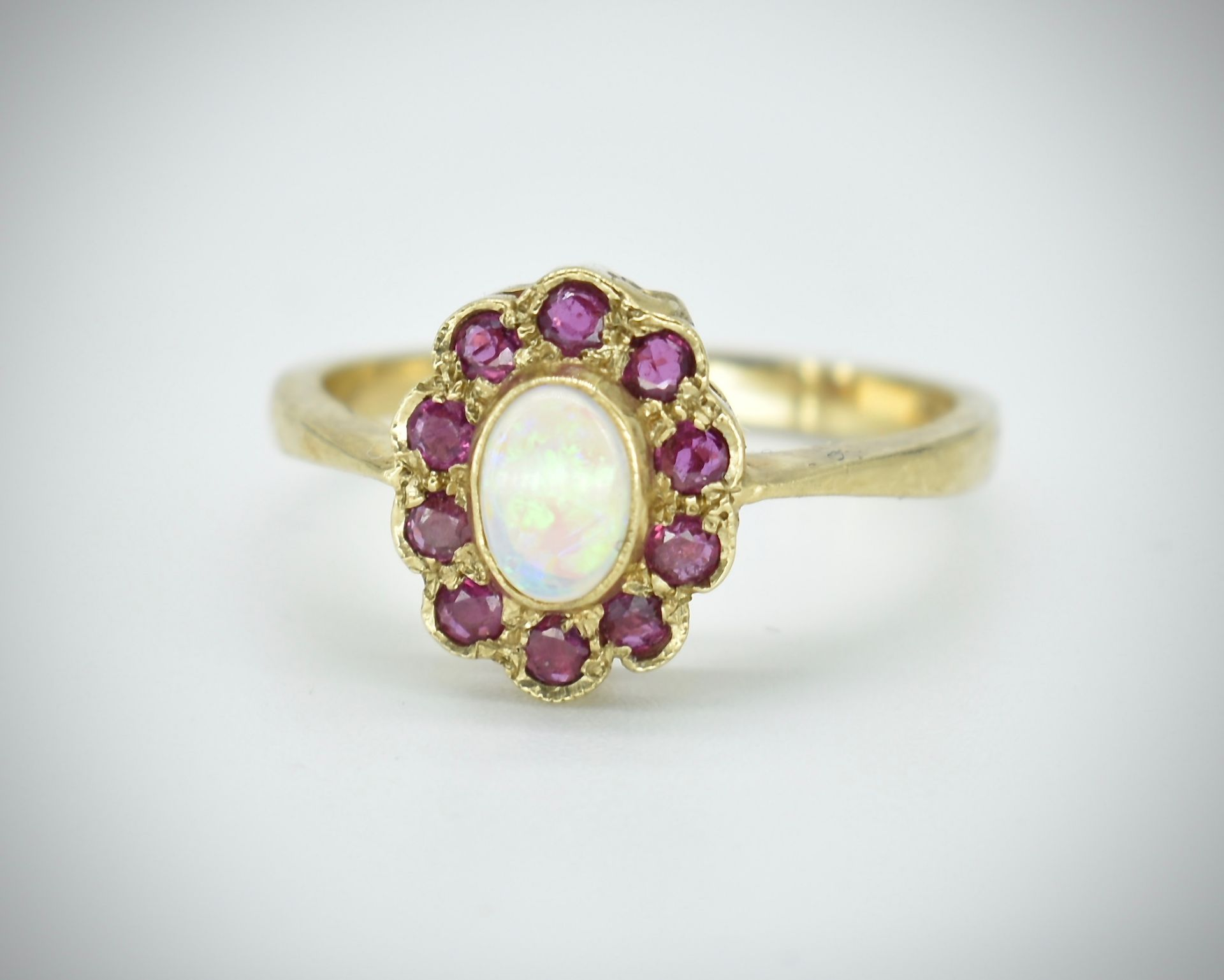 9ct Opal & Ruby Cluster Ring