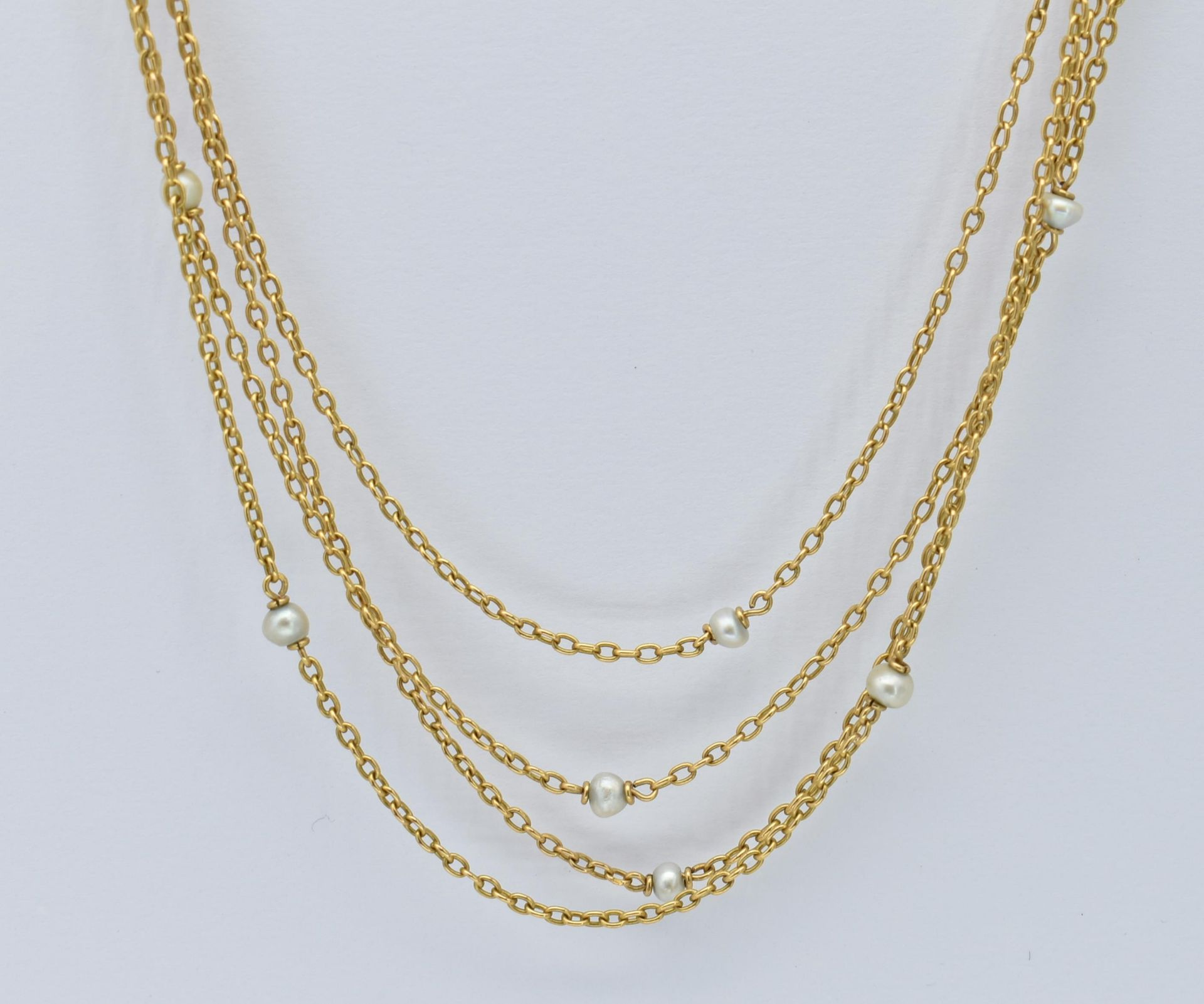French 18ct Gold & Pearl Four Strand Necklace - Image 4 of 4
