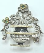 18ct White & Yellow Gold Emerald & Diamond Jardiniere Brooch