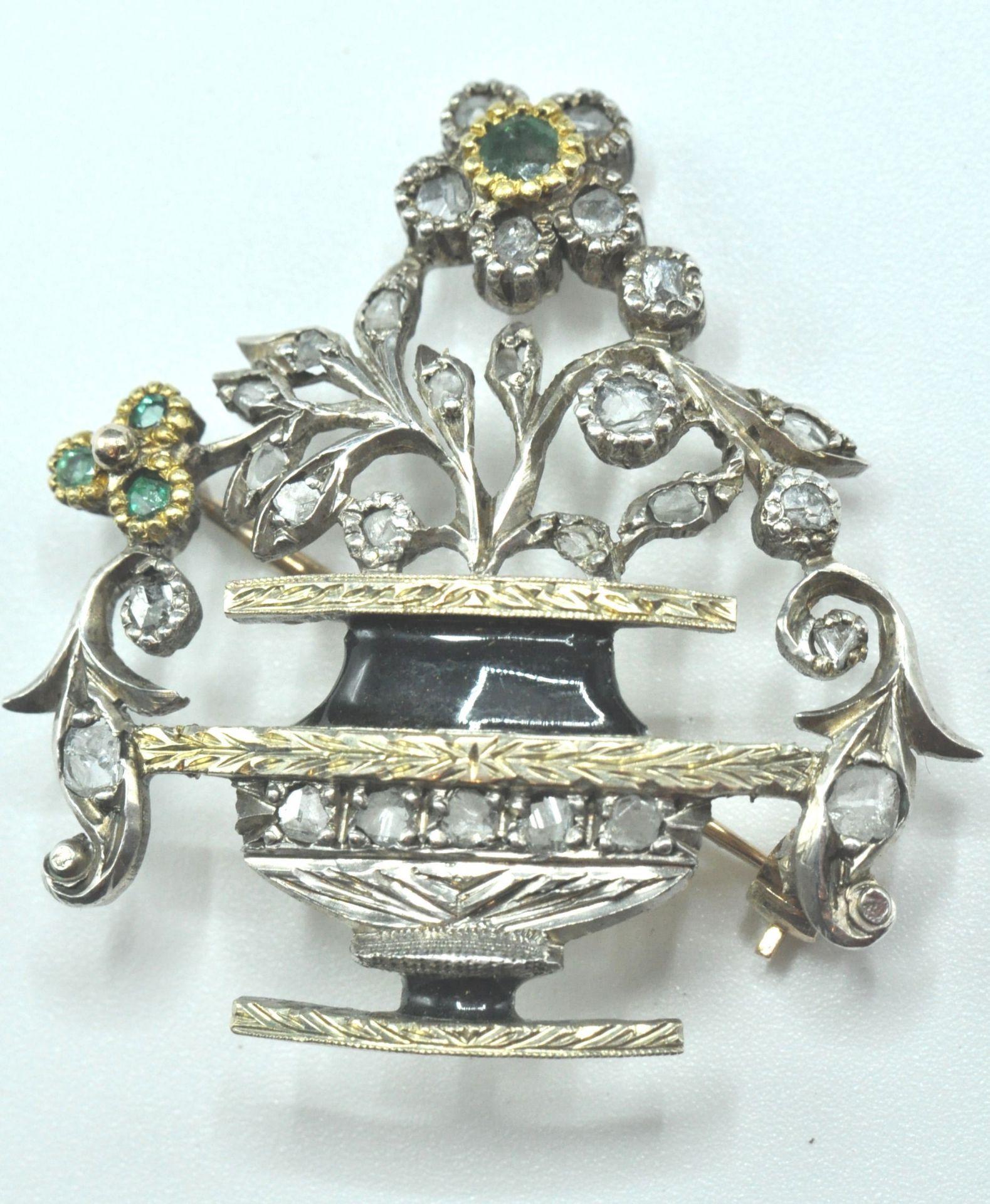 18ct White & Yellow Gold Emerald & Diamond Jardiniere Brooch