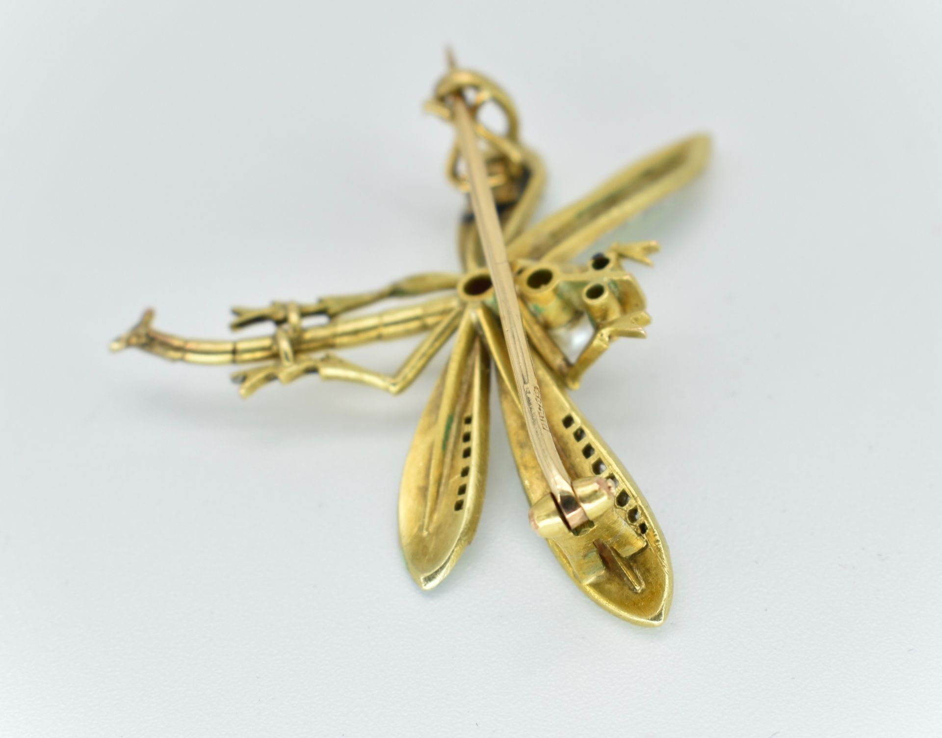 14ct Gold Ruby Diamond & Pearl Dragonfly Brooch - Image 5 of 5