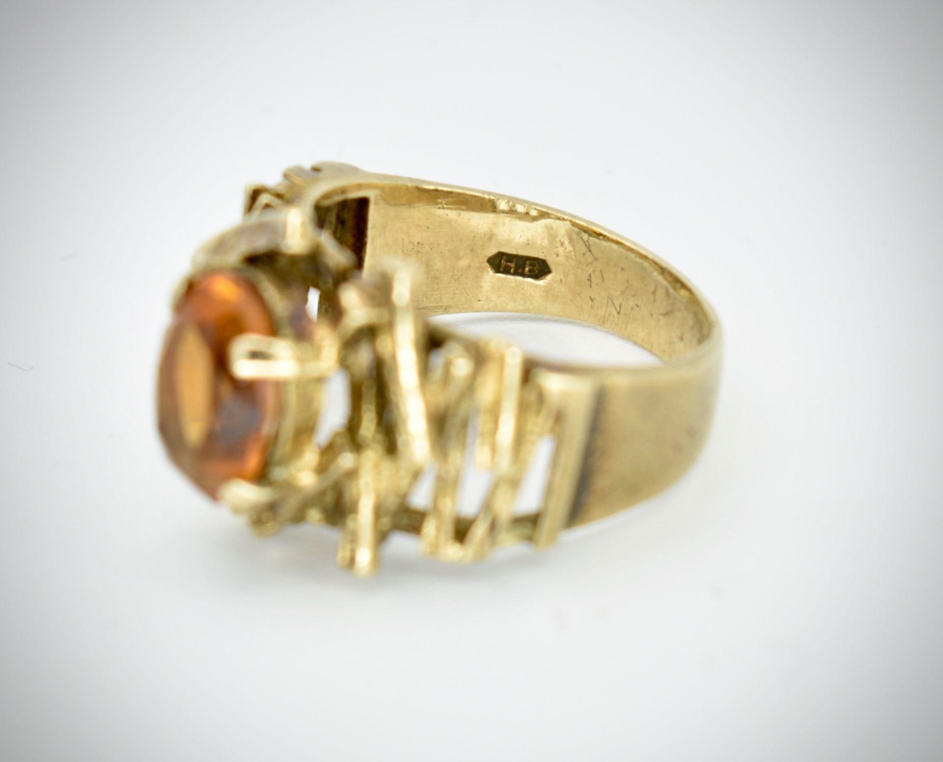 9ct Gold & Citrine Hallmarked 1960's Designer Ring - - Image 6 of 6