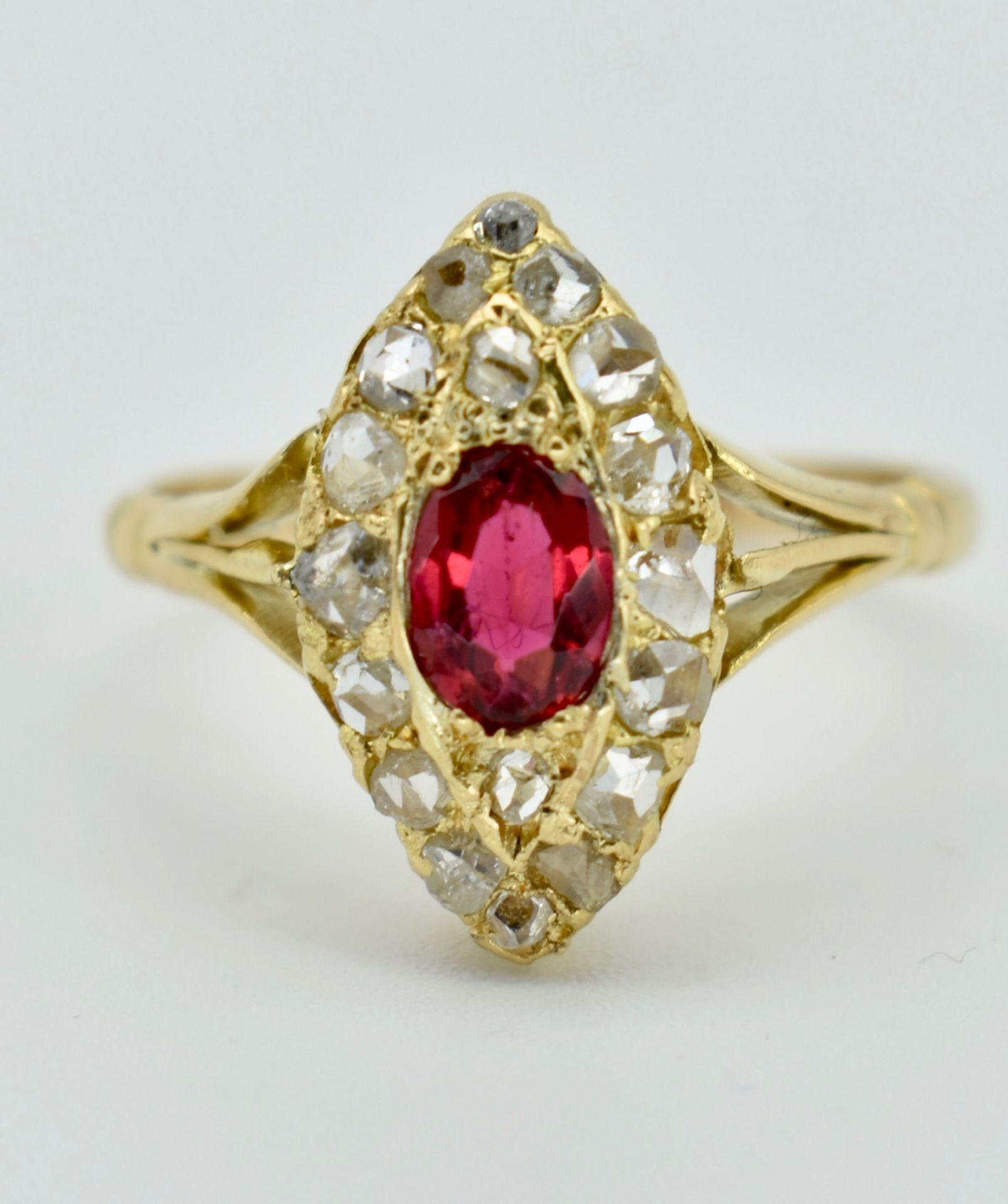 Gold Ruby & Diamond Navette Ring