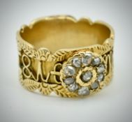 An Antique 15ct Gold & Diamond Band Ring