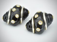 Pair of 18ct Gold Onyx Turbo Shell Earrings