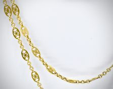 A French 18ct Gold Antique Long Guard Chain