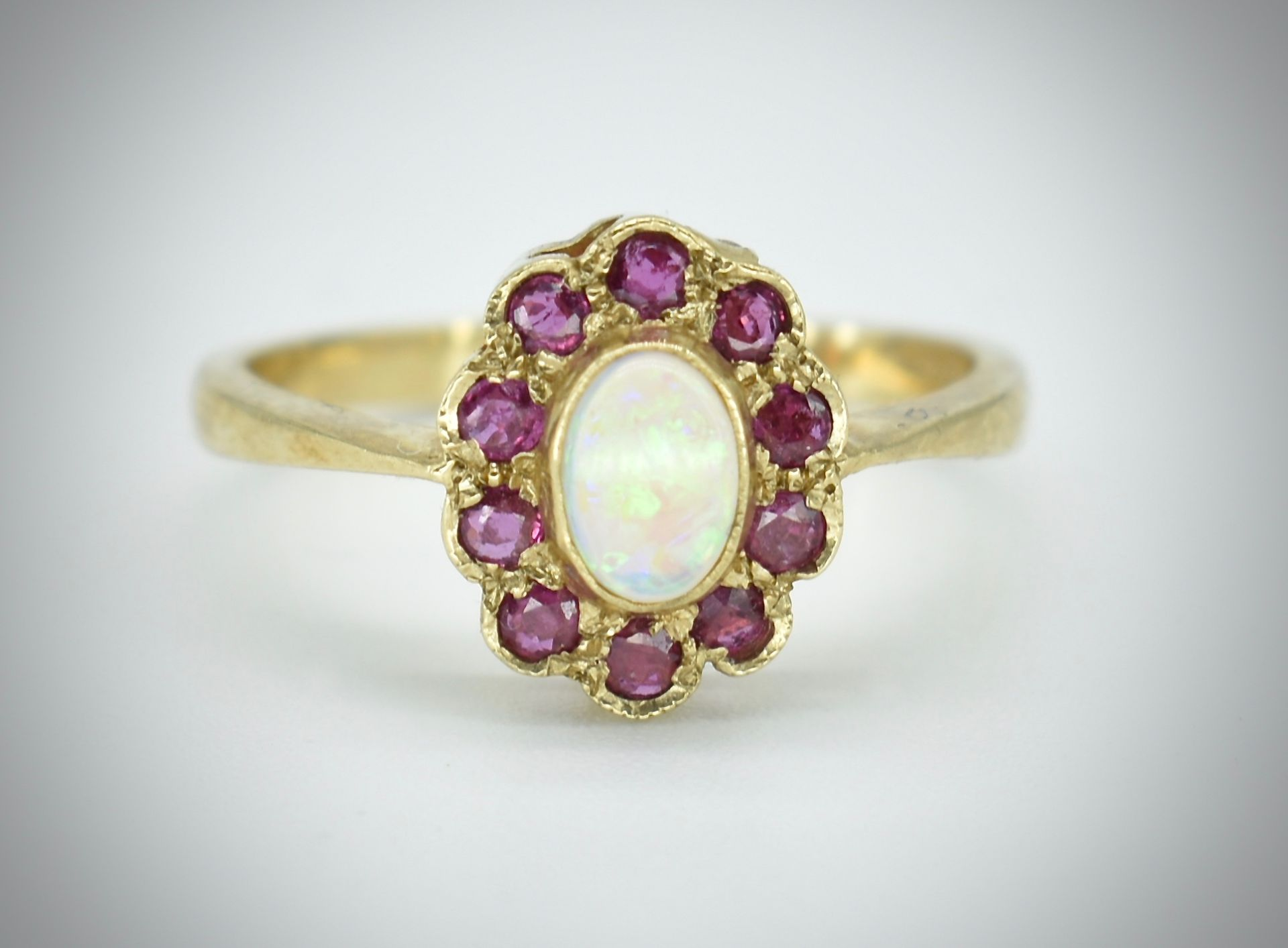 9ct Opal & Ruby Cluster Ring - Image 2 of 3