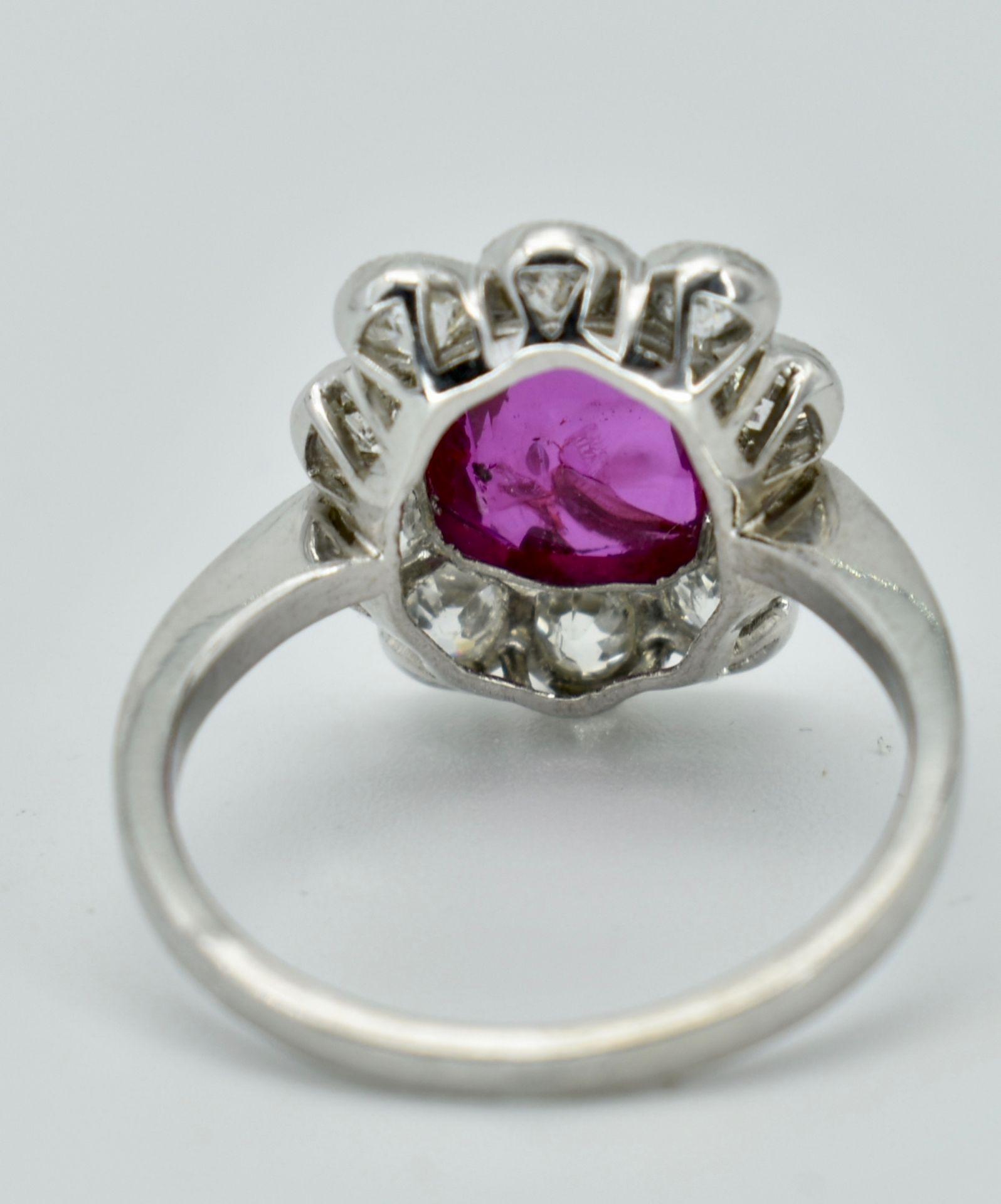 950 Platinum Burma Ruby & Diamond Cluster Ring - Image 3 of 5