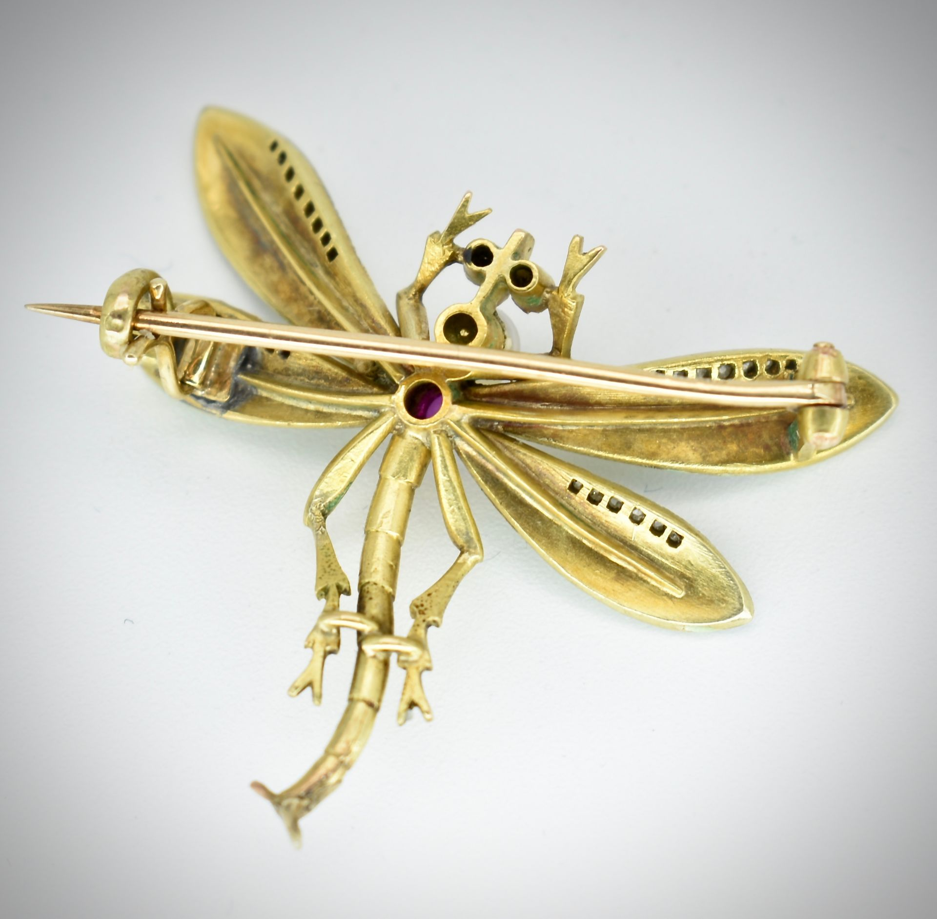 14ct Gold Ruby Diamond & Pearl Dragonfly Brooch - Image 3 of 5