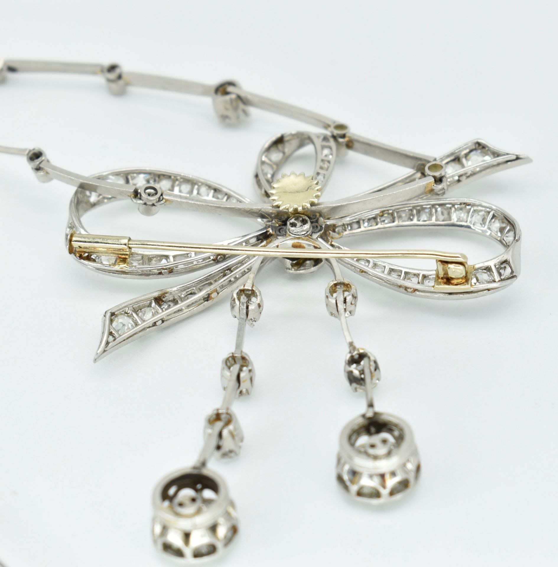 French 18ct Gold Platinum & Diamond Collar Necklace - Image 8 of 9