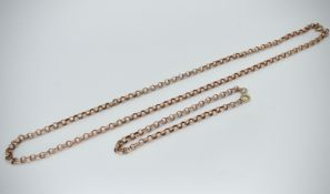 9ct Rose Gold Necklace & Bracelet Suite - Set