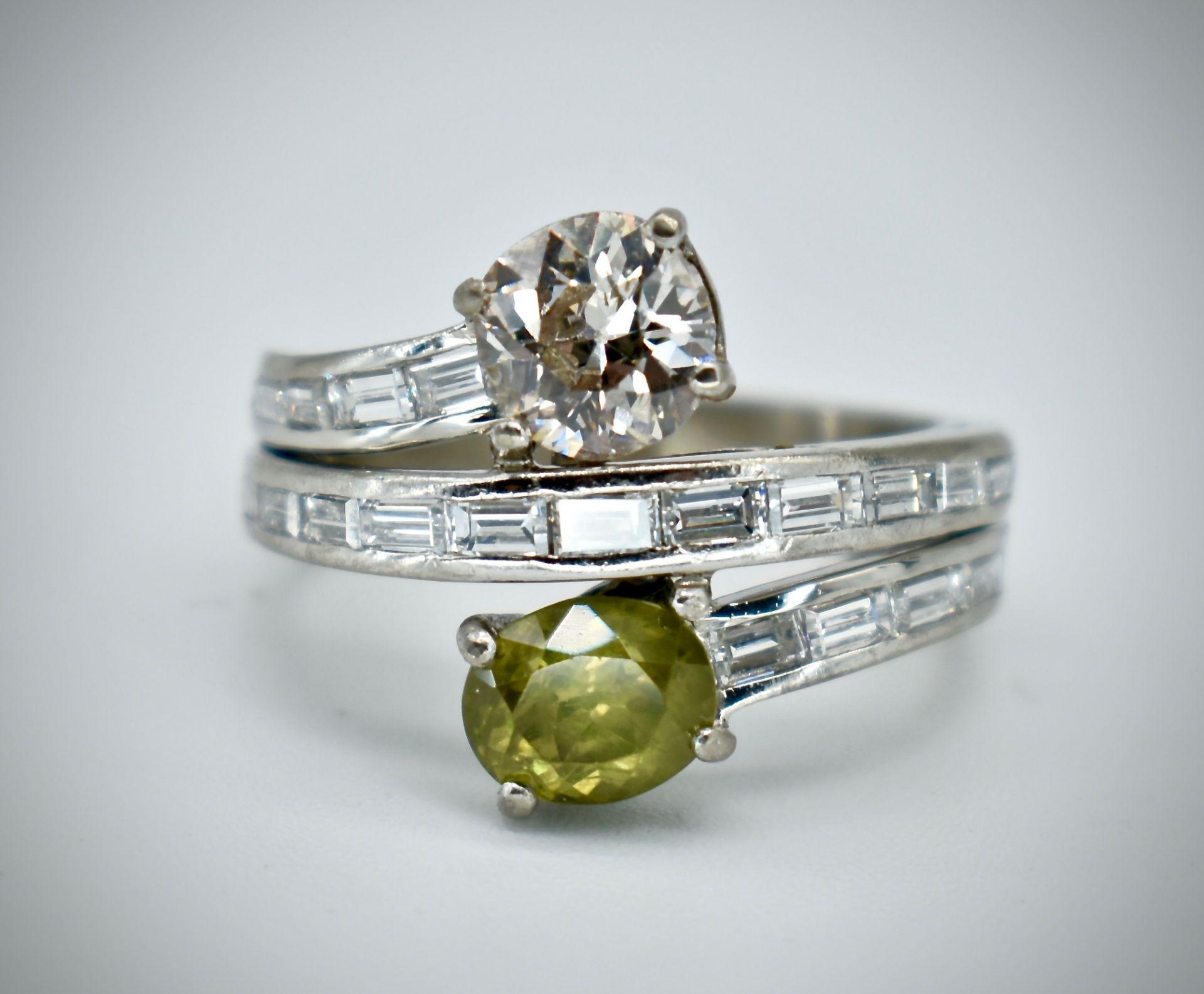 18ct Gold Diamond & Demantoid Garnet Moi Et Toi Ring