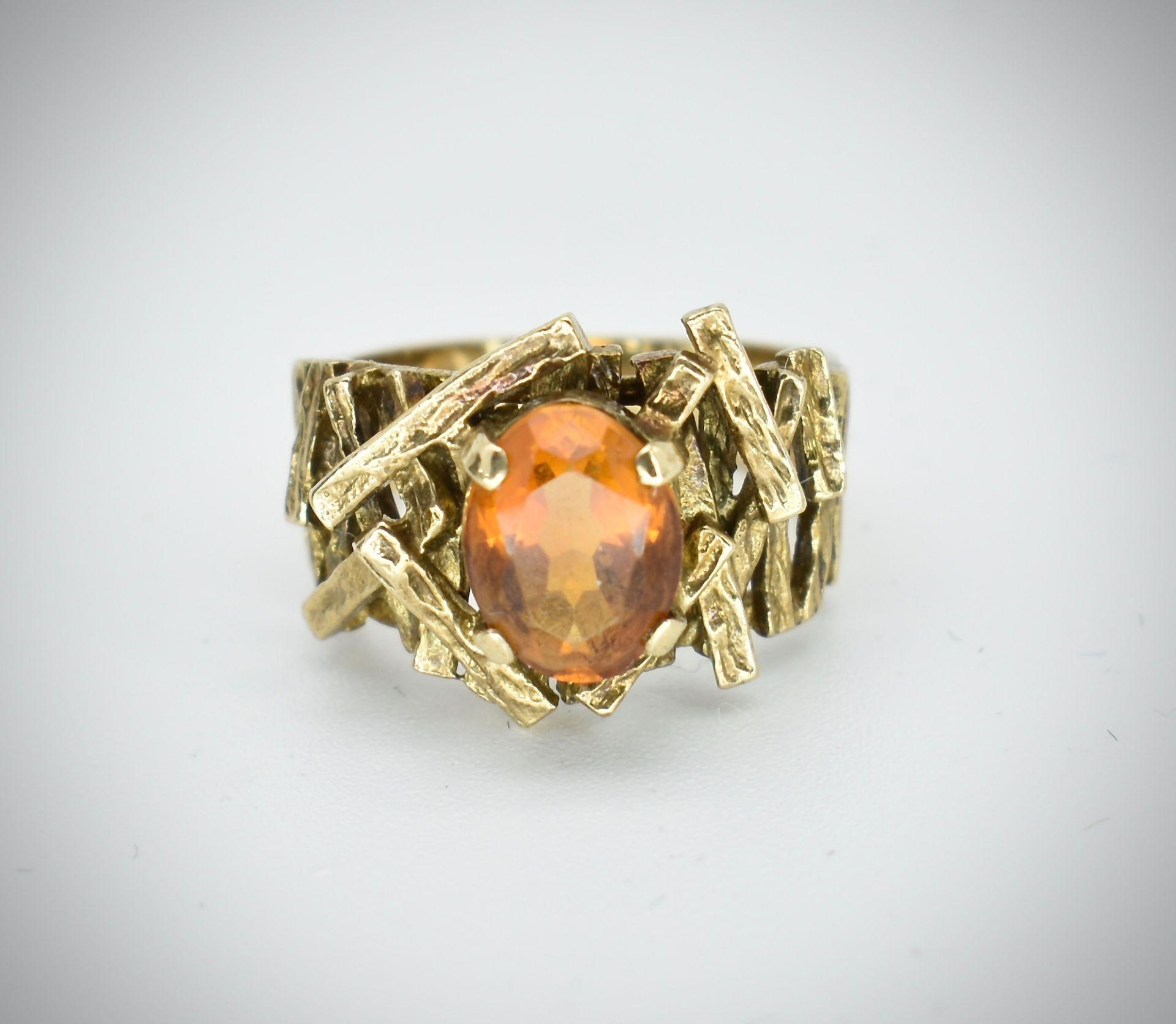 9ct Gold & Citrine Hallmarked 1960's Designer Ring - - Image 2 of 6