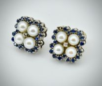 Pair of White Gold, Sapphire & Diamond Pearl Cluster Earrings / Studs