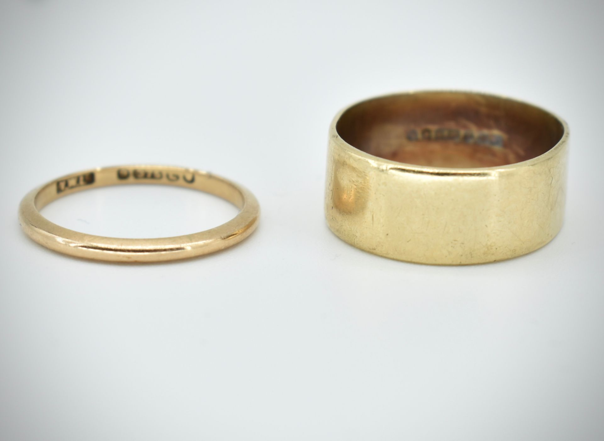 Two Hallmarked 9ct Gold Band Rings