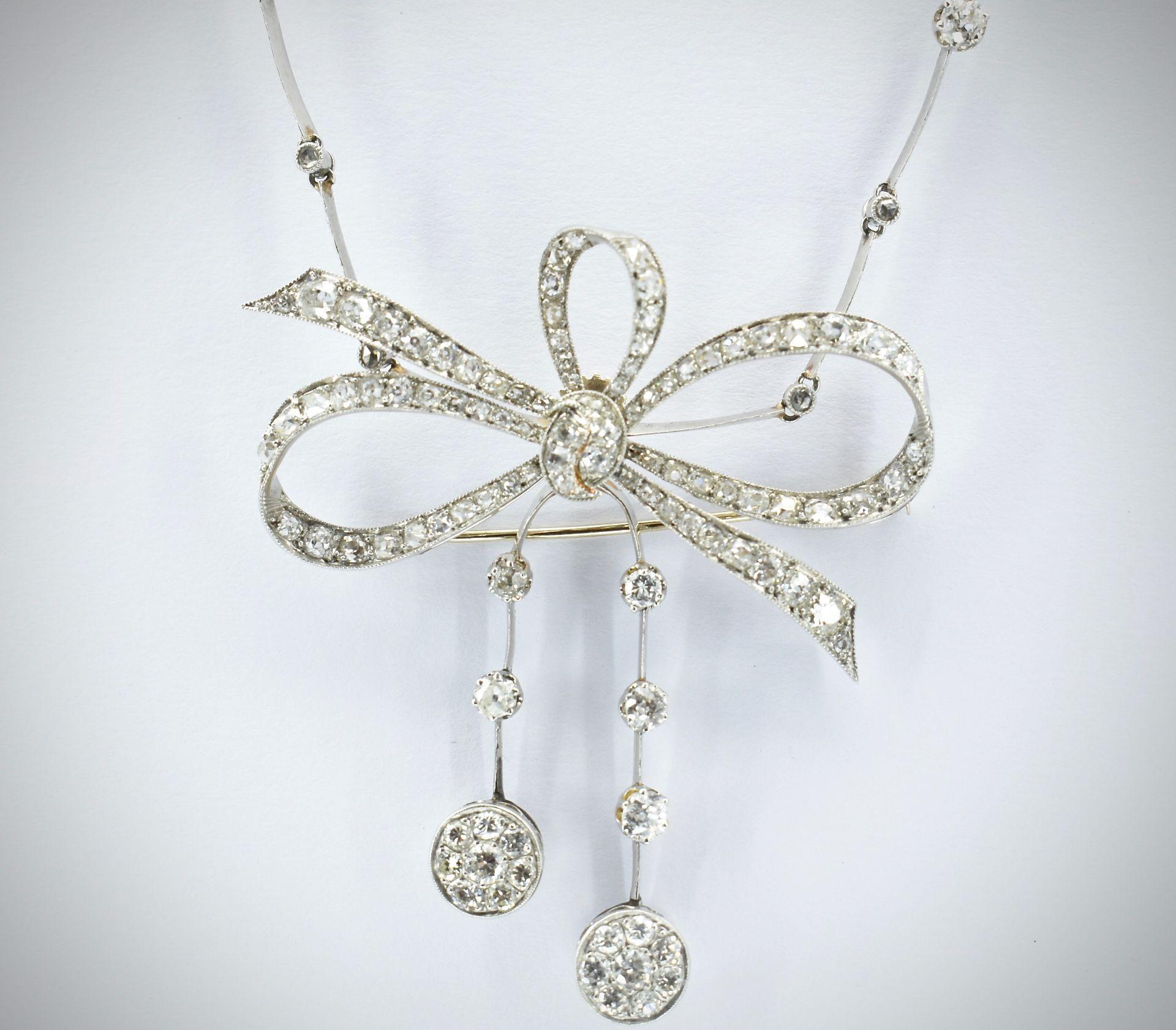 French 18ct Gold Platinum & Diamond Collar Necklace
