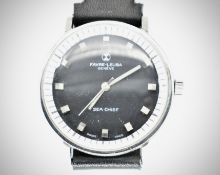 Mid Century Favre-Leuba Black Faced Sea Chief Wristwatch