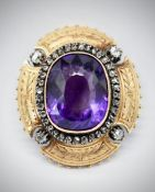 French 18Ct Gold Amethyst & Diamond Brooch Pendant