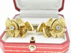French 18ct Gold & Diamond Ear Clips