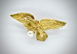 French 18ct Gold & Pearl Eagle Brooch