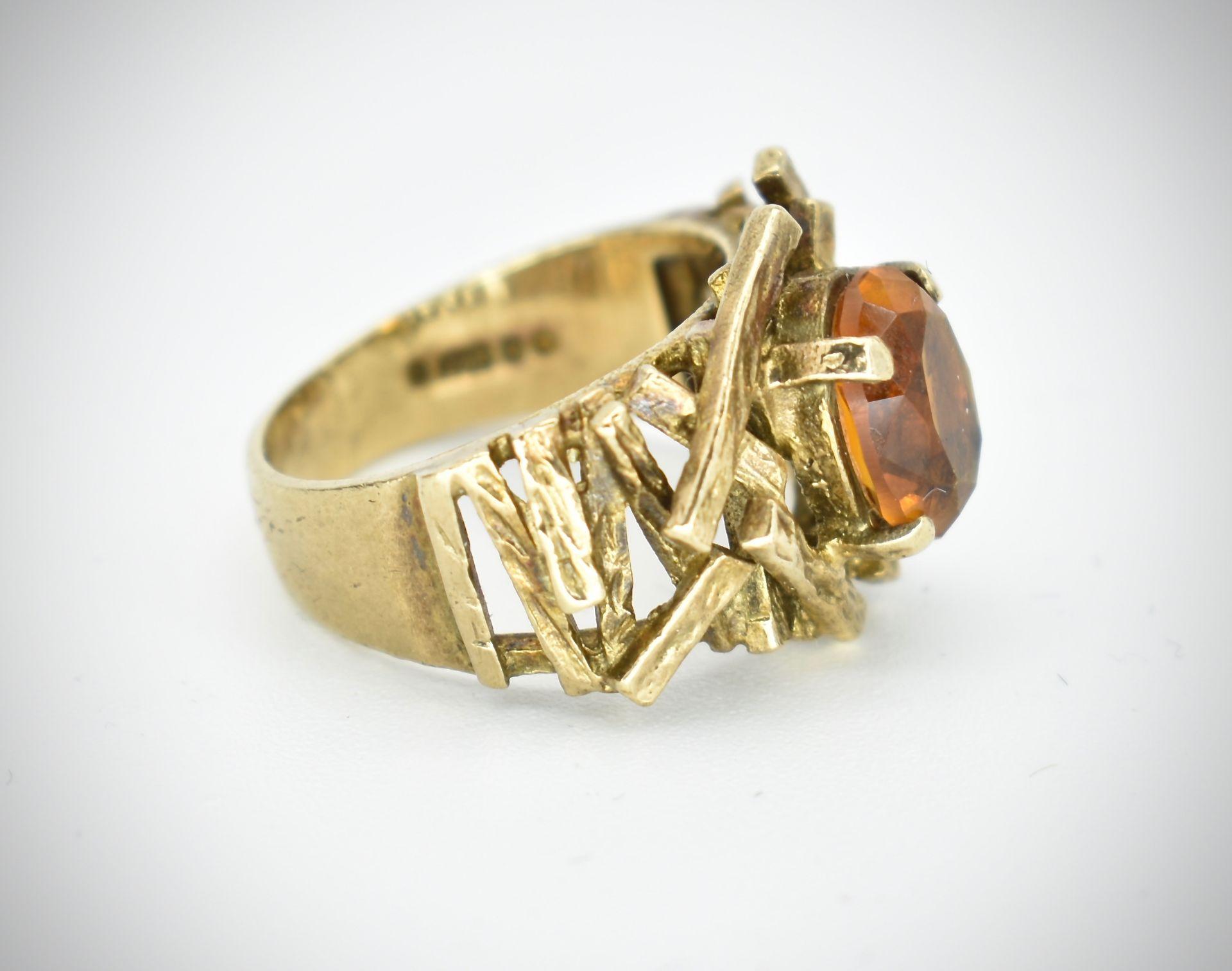 9ct Gold & Citrine Hallmarked 1960's Designer Ring - - Image 4 of 6