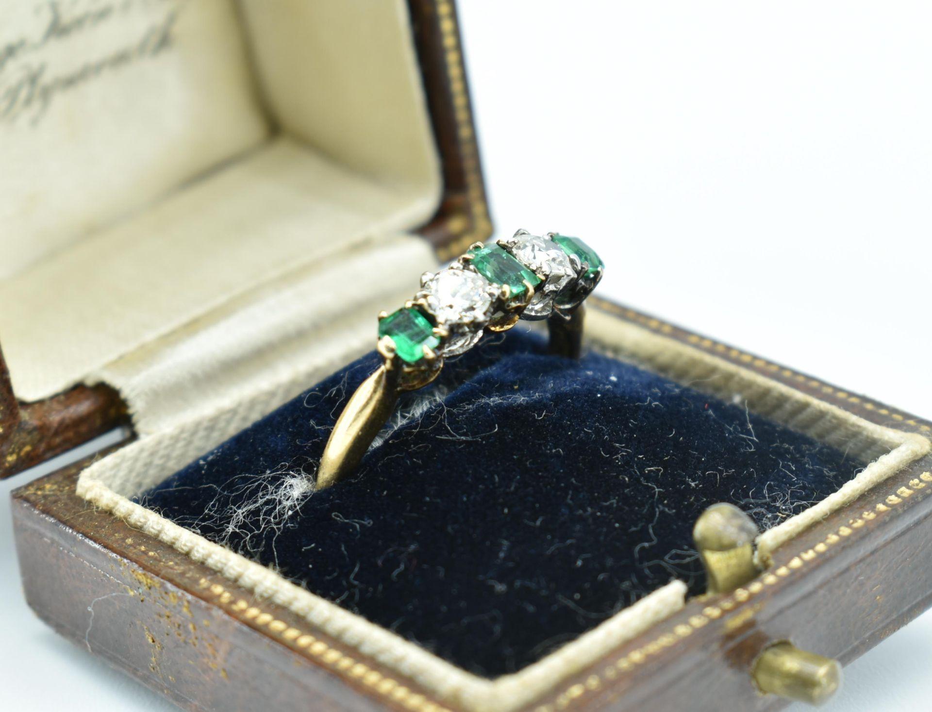 18ct Gold Emerald & Diamond Five Stone Ring - Image 7 of 7